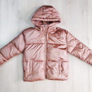 cazadora acolchada rosa metalizado